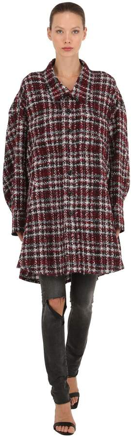 Oversized Mohair Blend Tweed Cape Jacket