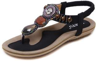 MAKEGSI Summer Women Beading Bohemian Casual Beach Flat T-Strap Sandals Extra Size US 11.5 (10.5, )
