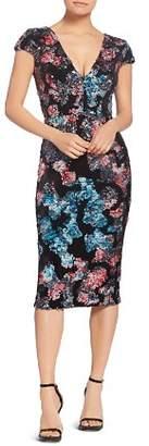 Dress the Population Allison Sequined Velvet Cap Sleeve Dress