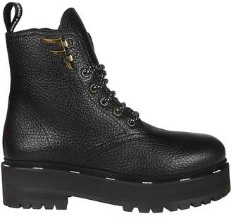 Fendi Pull Tab Rear Lace Up Boots