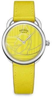 Hermes Arceau Lacquered Stainless Steel& Leather Strap Watch