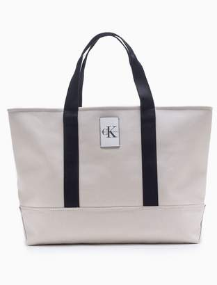 Calvin Klein monogram logo canvas large carryall tote bag