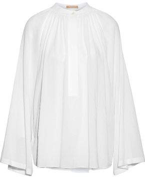 Michael Kors Gathered Cotton-Gauze Blouse