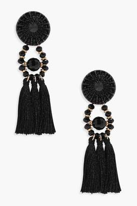boohoo Floral Tassel Bead Statement Earrings