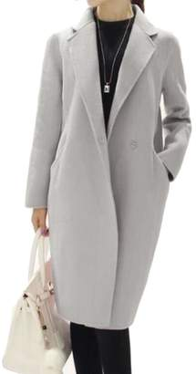 Blend of America BYWX-Women Thick One Breasted Worsted Lapel Long Overcoat Wool Coat US S