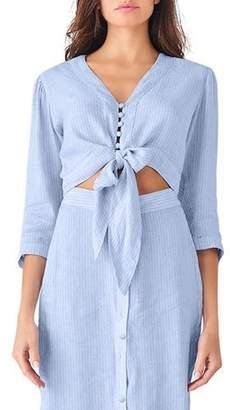 DL1961 Premium Denim Irving Striped Button-Front Long-Sleeve Tie-Front Crop Top
