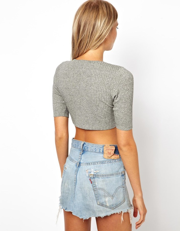 Asos Exclusive Ribbed Knitted Crop