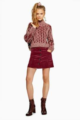 Topshop Womens Corduroy Pocket Mini Skirt