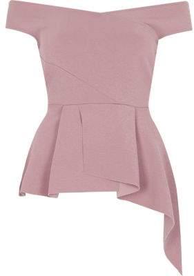 River Island Womens Light pink asymmetric peplum hem bardot top