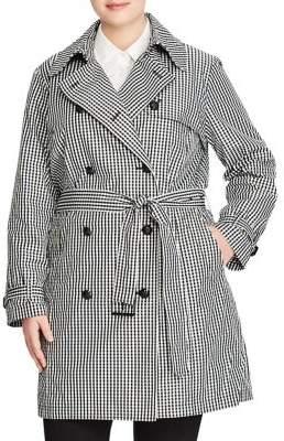 Lauren Ralph Lauren Plus Gingham Twill Trench Coat