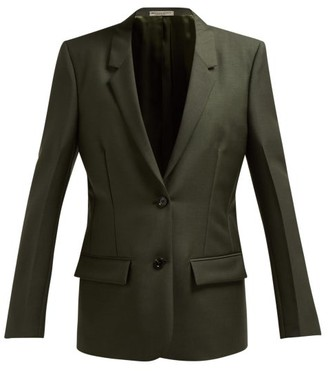 Bottega Veneta Single Breasted Mohair And Wool Blend Blazer - Womens - Dark Green