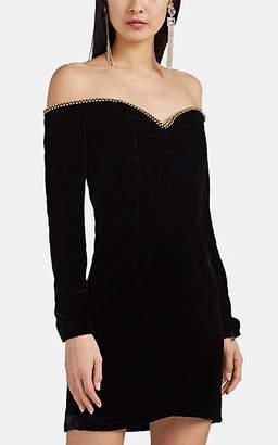 J. Mendel Women's Velvet Off-The-Shoulder Minidress - Black