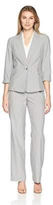 Le Suit Women's Pinstripe 1 BTN Notch Collar Pant
