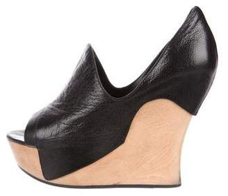 Camilla Skovgaard Leather Peep-Toe Wedge