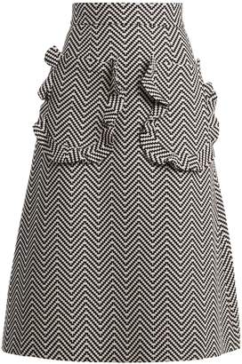 House of Holland Ruffle-trimmed zigzag cotton-blend skirt