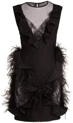 Emilio De La Morena Feather-trimmed sleeveless lace dress