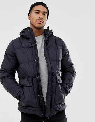 Pull&Bear fleece lined puffer in navy with hood