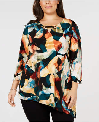 JM Collection Plus Size Asymmetrical Printed Top, Created for Macy's