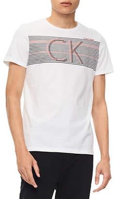 Calvin Klein Striped Logo Cotton Tee
