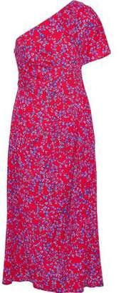Carolina Herrera One-Shoulder Floral-Print Silk-Blend Seersucker Midi Dress