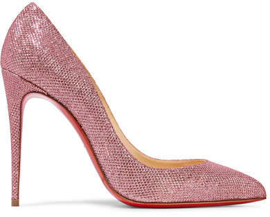 Christian Louboutin - Pigalle Follies 100 Glittered Canvas Pumps - Baby pink