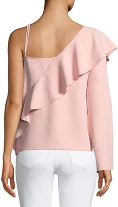 Laundry by Shelli Segal Asymmetric-Sleeve Ruffle Top