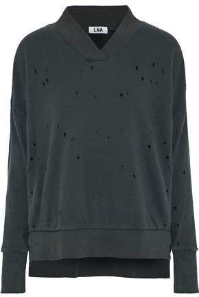 Lna Lake Distressed French Cotton-Terry Sweatshirt