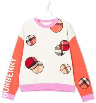 Burberry TEEN check detail sweatshirt