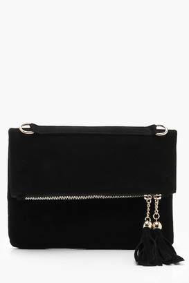 boohoo Double Tassel Foldover Clutch And Chain