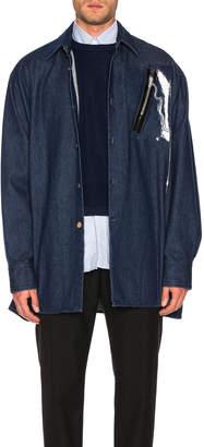 Raf Simons Big Fit Zipper Shirt in Dark Navy   FWRD