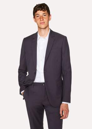 Men's Mid-Fit Navy Check Wool-Blend Blazer