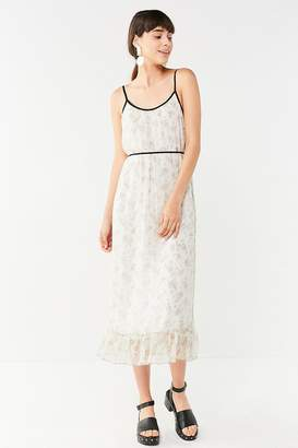 Urban Outfitters Floral Chiffon Ruffle Hem Midi Dress