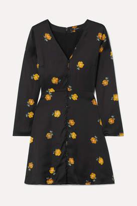 Madewell Floral-print Crepe De Chine Mini Dress - Black
