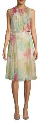 Max Mara Condor Floral-Print Belted Silk Dress