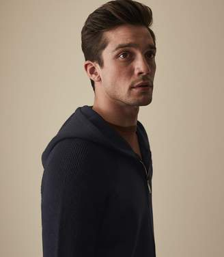 Reiss Our last order date for Christmas has now passed HERMISTON ZIP THROUGH HOODIE Navy