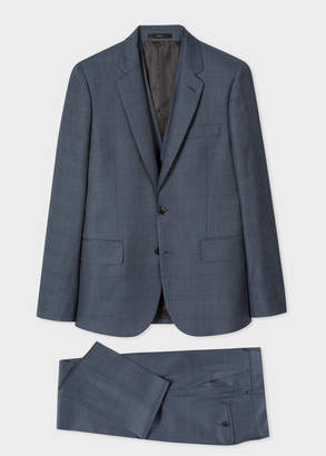 Paul Smith The Soho - Men's Tailored-Fit Slate Blue Windowpane Check Three-Piece Suit