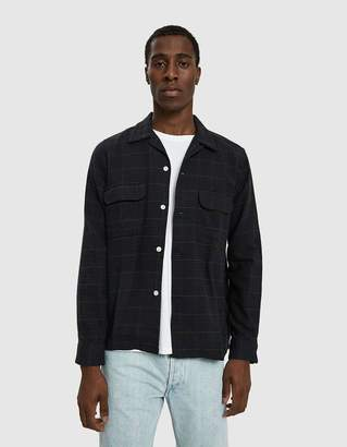 Beams Open Collar Check Shirt in Navy Club