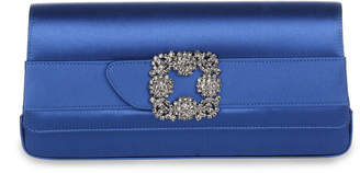 Manolo Blahnik Gothisi Royal Blue satin clutch
