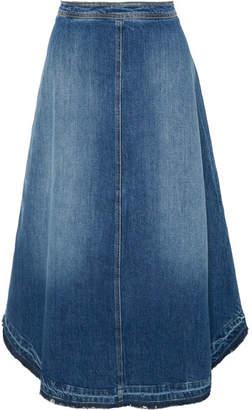 Philosophy di Lorenzo Serafini Frayed Denim Midi Skirt - Blue