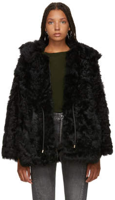 Yves Salomon Black Curly Toscana Shearling Coat