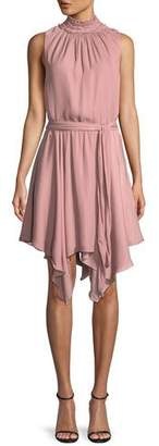 Halston High-Neck Smocked Ruffle Mini Dress