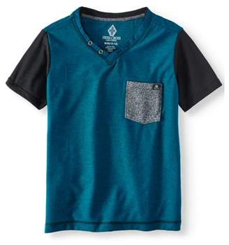 SWISS CROSS Stripe V-Neck Jersey Tee With Front Pocket (Little Boys)