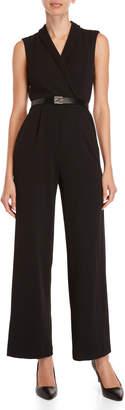 Calvin Klein Petite Black Belted Sleeveless Jumpsuit