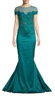 Mandalay Embroidered Mermaid Gown