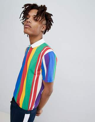 Asos Design DESIGN relaxed polo with rainbow vertical stripe