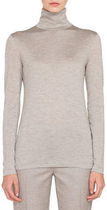 Akris Turtleneck Long-Sleeve Cashmere-Silk Jersey Pullover Top