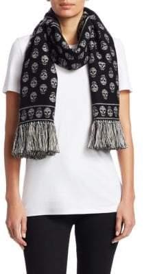 Alexander McQueen Skull Wool& Silk Fringe Scarf
