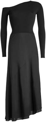 Theory Dress with Asymmetric Sweater and Silk Skirt