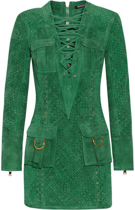Balmain - Lace-up Woven Suede Mini Dress - Dark green $11,670 thestylecure.com