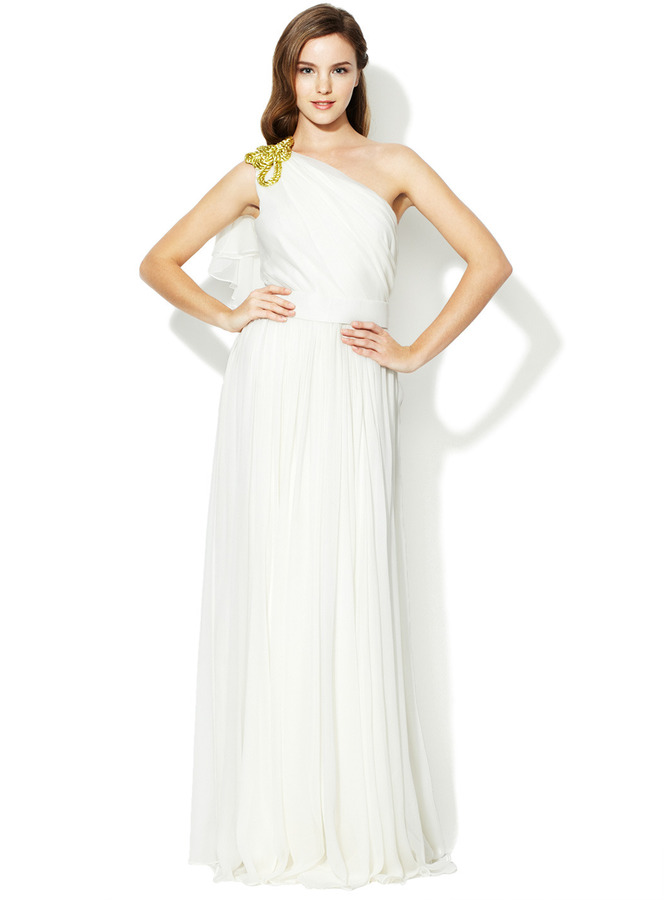 Notte by Marchesa Silk Chiffon Gold Applique One Shoulder Gown